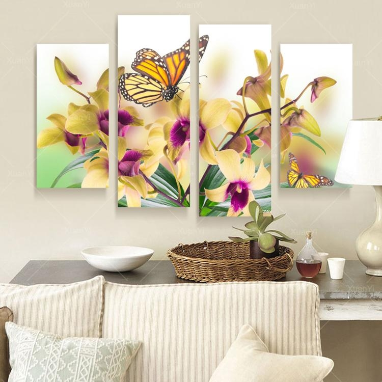Aliexpress : Buy 4 Panel Butterfly Flower Canvas Wall Art Oil In Butterfly Canvas Wall Art (Image 2 of 20)