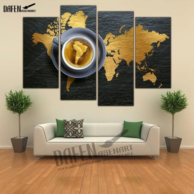 Aliexpress : Buy 4 Panel Hd Framed Painting Canvas Map Within Glass Wall Art Panels (Image 6 of 20)