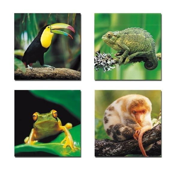Aliexpress : Buy 4 Panels Little Animals Modern Stretched Intended For Animal Canvas Wall Art (View 16 of 20)