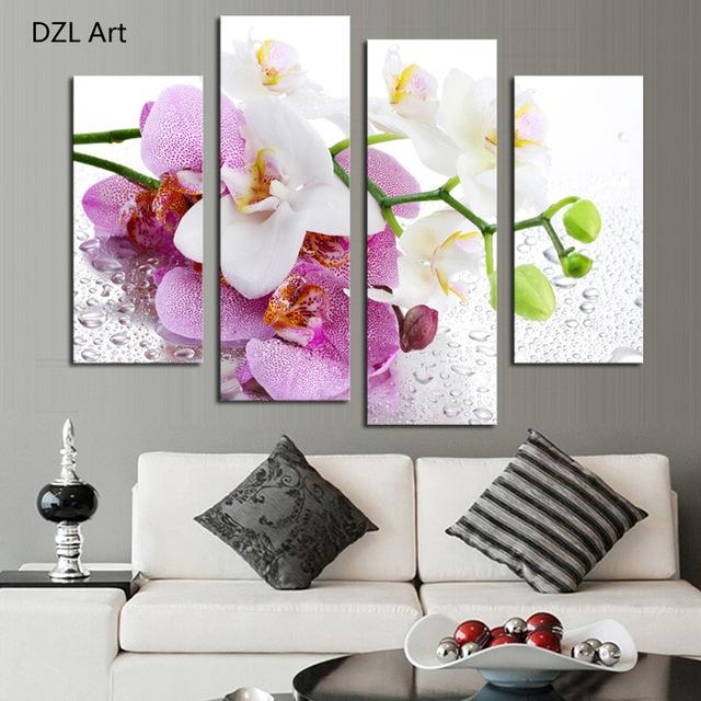 Aliexpress : Buy 4 Pcs (No Frame) Pink Flowers Wall Art Inside Pink Flower Wall Art (View 20 of 20)