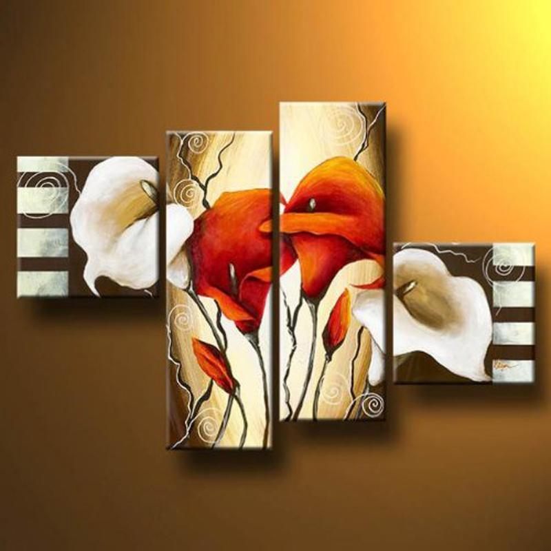 "Aliexpress : Buy 4 Piece ""scents Of Callas"" Not Framed Hand For 4 Piece Canvas Art Sets (Image 5 of 20)"