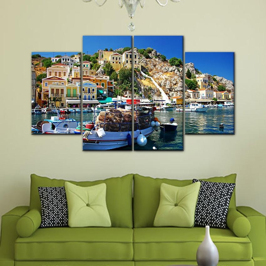 Aliexpress : Buy 4 Piece Wall Art Painting Pictures Print On Throughout 4 Piece Wall Art (Image 9 of 20)