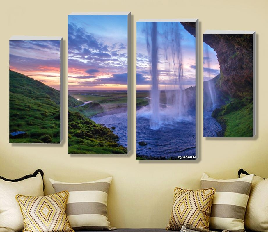 Aliexpress : Buy 4 Pieces Set Unframed Modular Waterfall Wall For Waterfall Wall Art (Image 6 of 20)