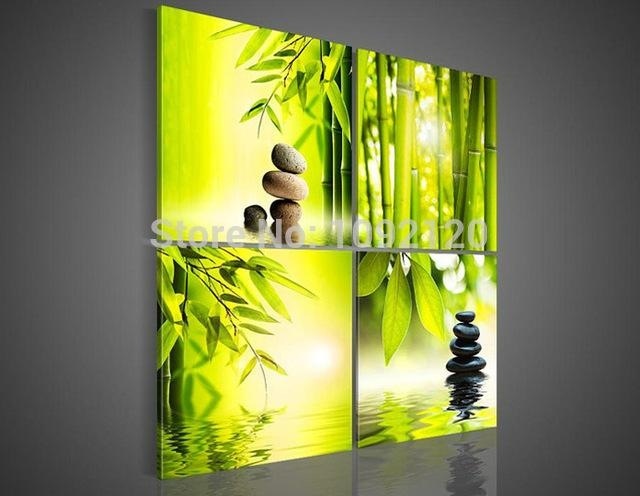 Aliexpress : Buy 4 Piece/set Wall Art Botanical Green Picture For Yellow And Green Wall Art (Image 5 of 20)