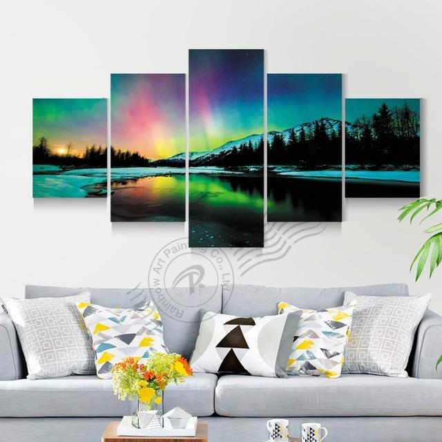 Aliexpress : Buy 5 Panel Aurora Borealis Wall Art Canvas Pertaining To Modular Wall Art (View 11 of 20)