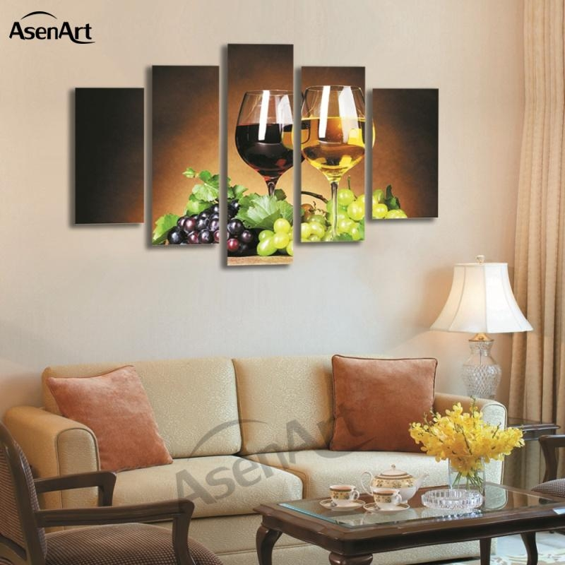 Aliexpress : Buy 5 Panel Wall Art Fruit Grape Wine Glass For Grape Wall Art (Image 5 of 20)