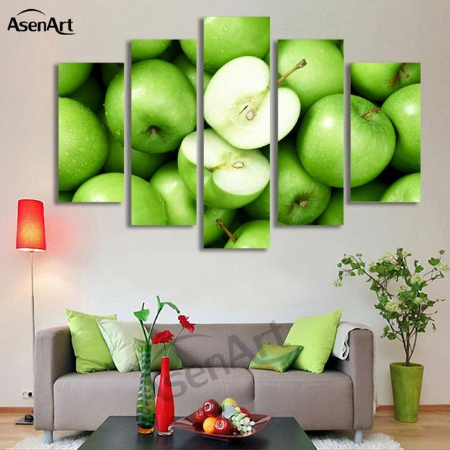 Aliexpress : Buy 5 Panel Wall Art Green Apple Picture Fruit Throughout Green Canvas Wall Art (Image 5 of 20)