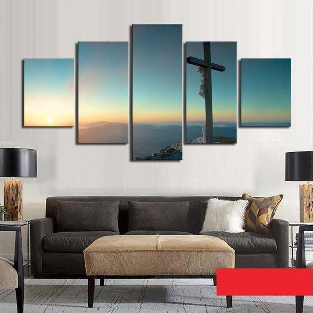 Aliexpress : Buy 5 Piece Canvas Art Set Cross Canvas Wall Art With Regard To Wall Art Sets For Living Room (View 10 of 20)