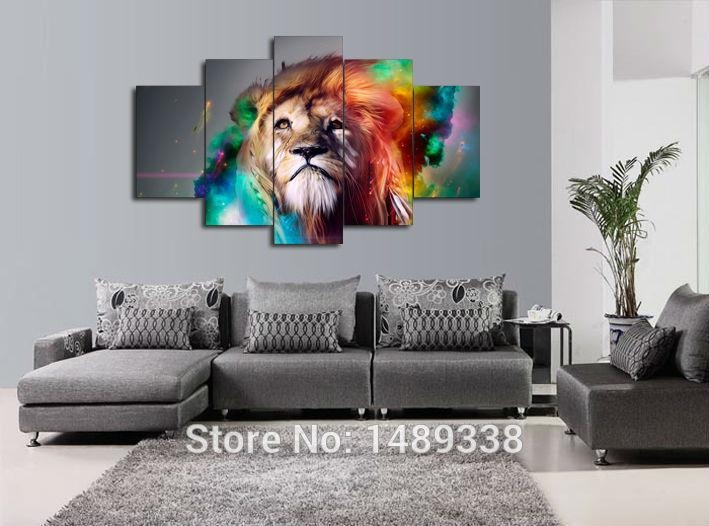 Aliexpress : Buy 5 Piece Painting Wall Art Large Painting Regarding Animal Canvas Wall Art (View 1 of 20)