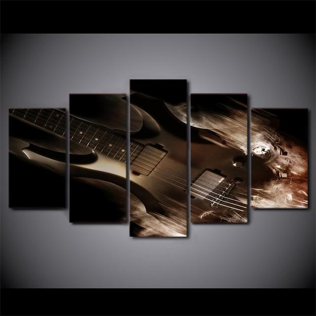 Aliexpress : Buy 5 Pieces No Framed Abstract Classical Guitar In Guitar Canvas Wall Art (View 14 of 20)