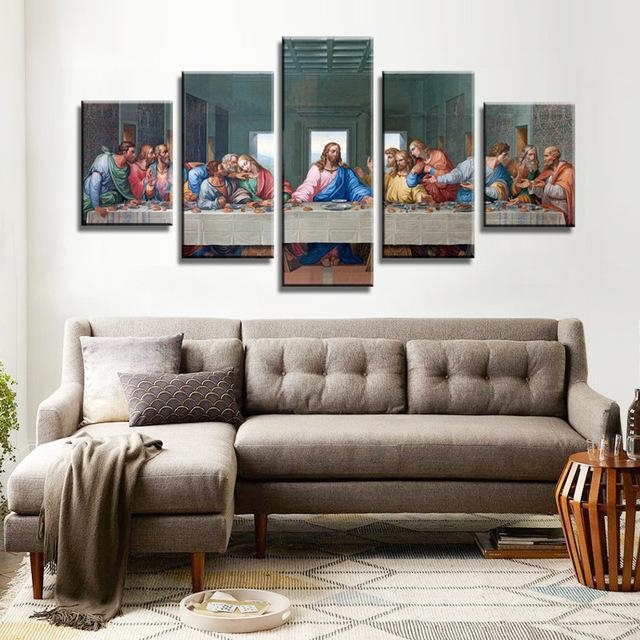 Aliexpress : Buy 5 Piece/set Canvas Art Jesus Last Supper Hd Regarding Last Supper Wall Art (Image 1 of 20)