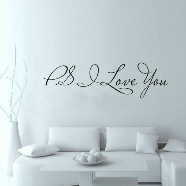 Aliexpress : Buy 58*15Cm Ps I Love You Wall Art Decal Home With Inspirational Sayings Wall Art (Photo 17 of 20)