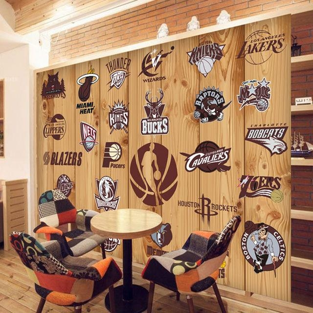 Aliexpress : Buy 5D Papel Murals Nba Basketball Team Logo 3D Within Nba Wall Murals (Image 3 of 20)