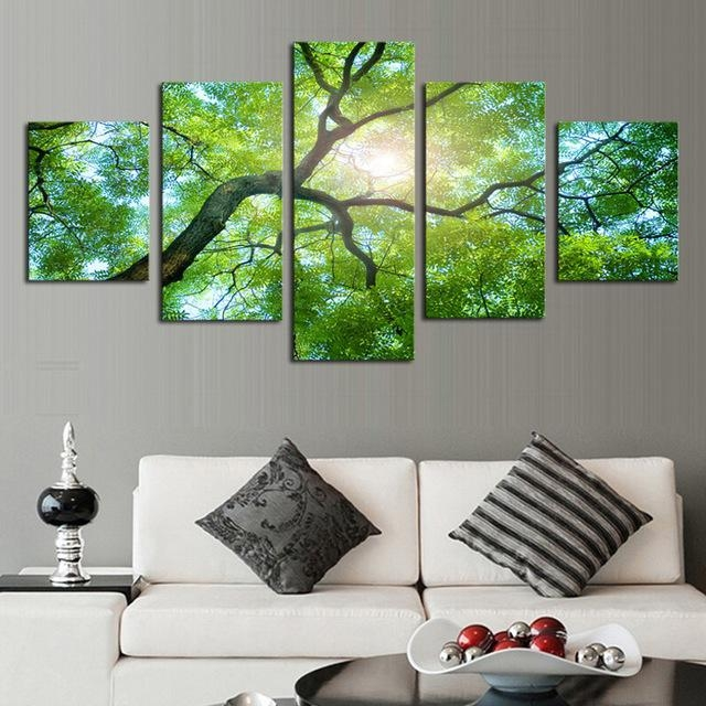 Aliexpress : Buy 5Pcs(No Frame)Wall Art Green Trees Definition For Green Canvas Wall Art (Image 6 of 20)