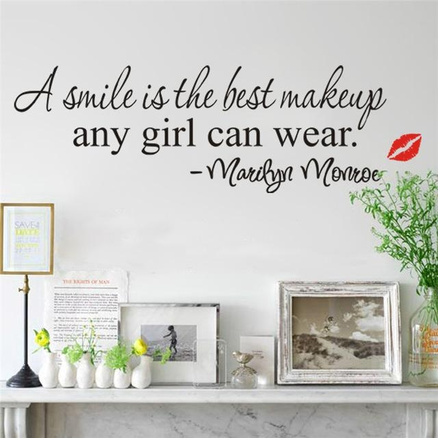 Aliexpress : Buy A Smile Is The Best Makeup Wall Stickers Inside Marilyn Monroe Wall Art Quotes (Image 8 of 20)