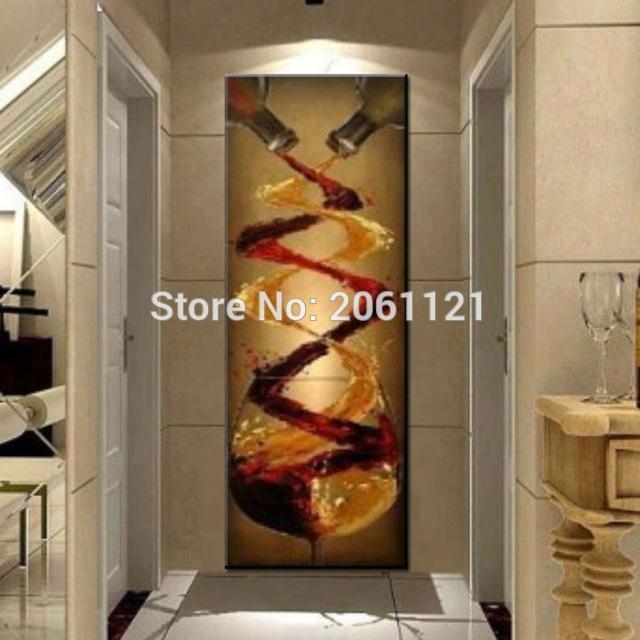 Aliexpress : Buy Abstract Canvas Oil Painting Hand Painted In Long Vertical Wall Art (View 13 of 20)