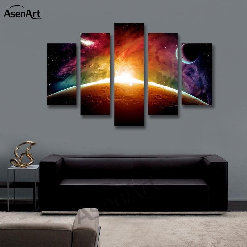 Aliexpress : Buy Amazing Outer Space Painting Star Moon 5 With Outer Space Wall Art (Image 7 of 20)