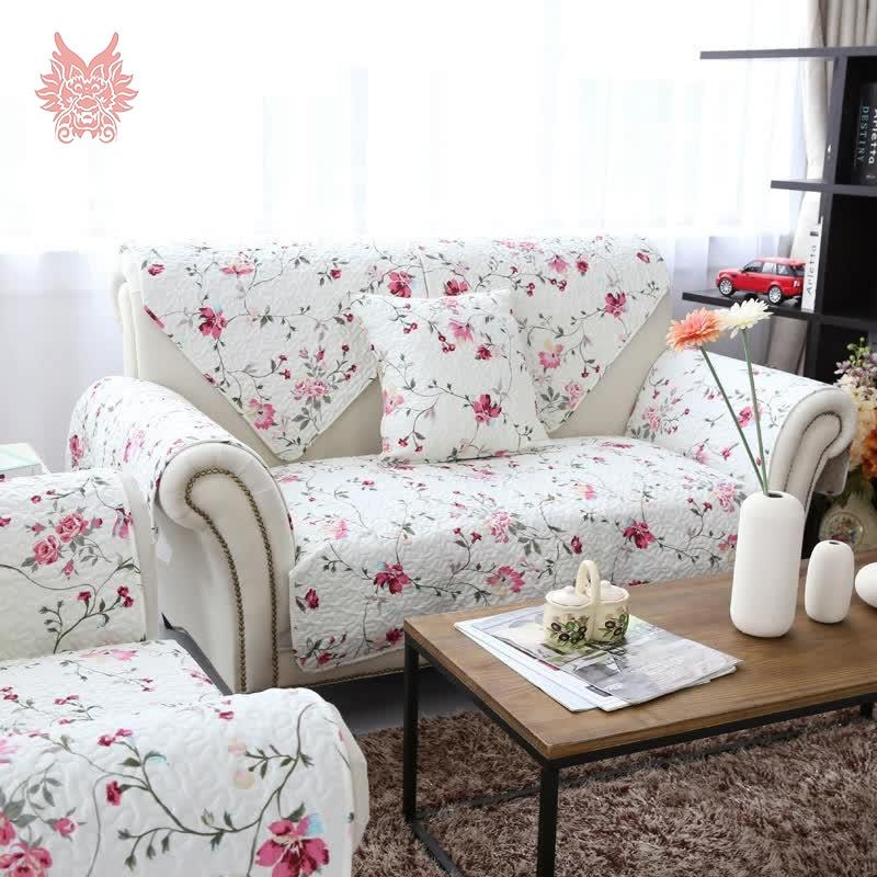Aliexpress : Buy American Style White/pink Floral Print Pertaining To Floral Slipcovers (View 10 of 20)