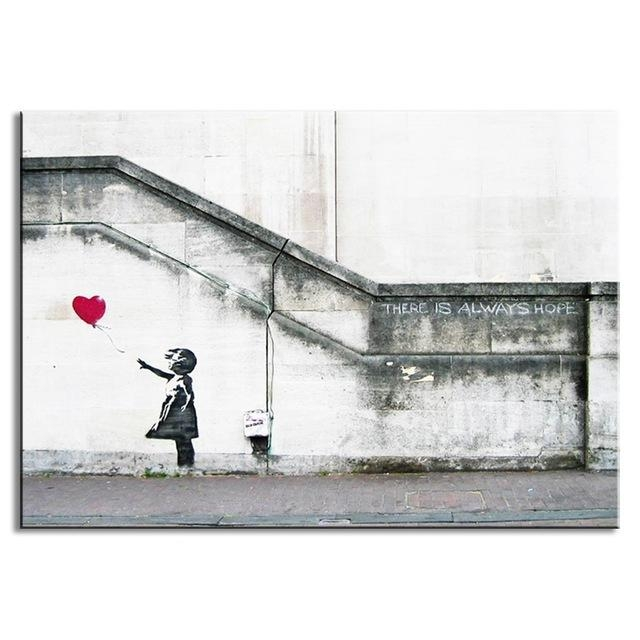 Aliexpress : Buy Banksy Canvas Print Ballon Girl With Heart Inside Banksy Canvas Wall Art (Image 2 of 20)