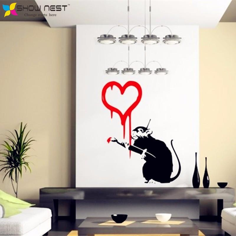 Aliexpress : Buy Banksy Graffiti Love Rat Wall Decal Wall Intended For Graffiti Wall Art Stickers (Image 7 of 20)