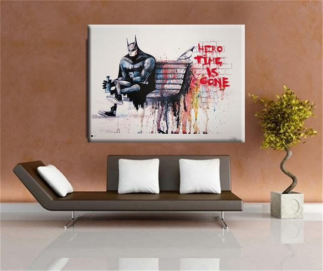 Aliexpress : Buy Banksy Hero Time Is Gone Canvas Art Print Throughout Huge Wall Art (Image 5 of 20)