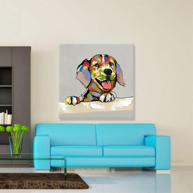 Aliexpress : Buy Beautiful Lovely Dog Animal Canvas Wall Art For Animal Canvas Wall Art (View 8 of 20)