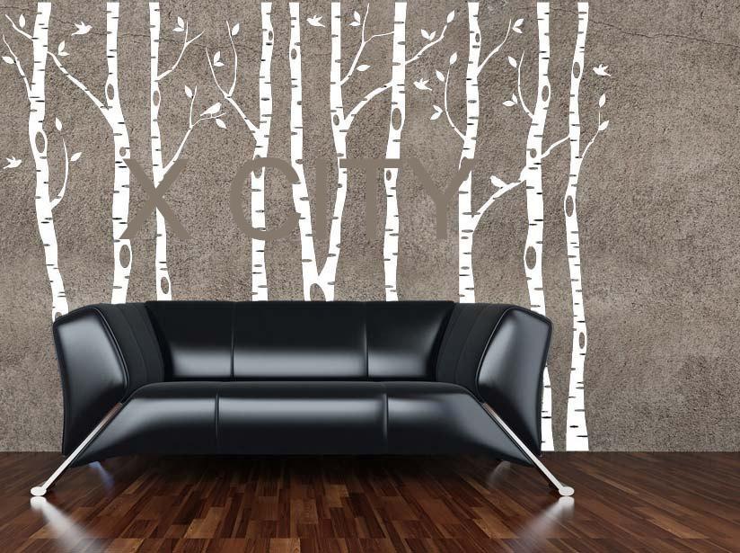 Aliexpress : Buy Birch Aspen Trees Birds Forest Wall Art Within Aspen Tree Wall Art (Image 1 of 20)