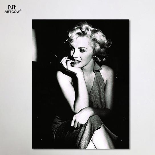Aliexpress : Buy Black White Sexy Lady Marilyn Monroe Super Within Marilyn Monroe Black And White Wall Art (Image 4 of 20)