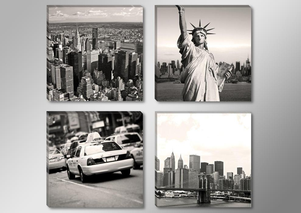 Aliexpress : Buy Canvas Print Painting Artwork, Grey New York Regarding New York City Canvas Wall Art (View 14 of 20)
