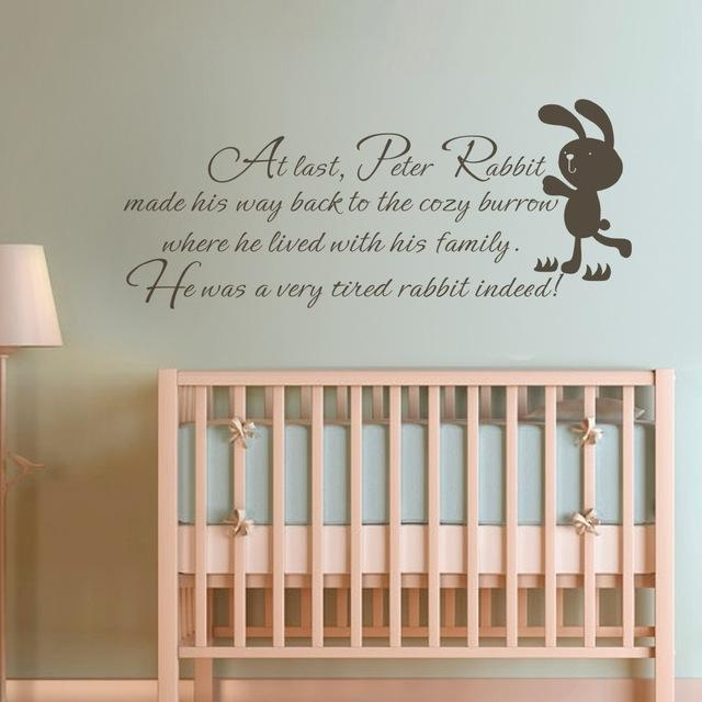 Aliexpress : Buy Children Wall Quote Peter Rabbit Baby Nursery Throughout Peter Rabbit Wall Art (Image 4 of 20)