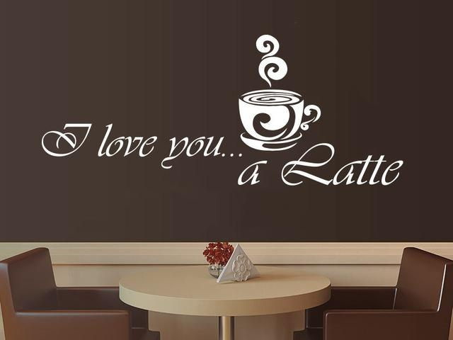Aliexpress : Buy Coffee Vinyl Wall Decal Coffee Latte Kitchen With Regard To Cafe Latte Kitchen Wall Art (Image 5 of 20)