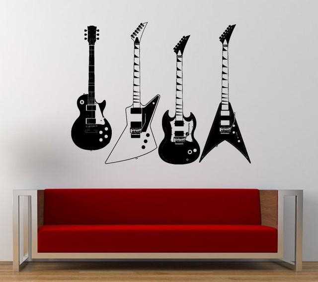 Aliexpress : Buy Collected Four Kinds Of Electric Guitars Wall With Regard To Musical Instrument Wall Art (View 19 of 20)