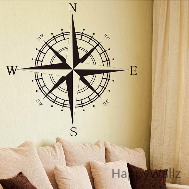 Aliexpress : Buy Compass Wall Sticker Modern Vinyl Wall Art Regarding Modern Vinyl Wall Art (View 8 of 20)