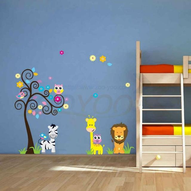 Aliexpress : Buy Cute Giraffe Owl Tree Wall 3Dstickers For Pertaining To Preschool Wall Decoration (Image 2 of 20)