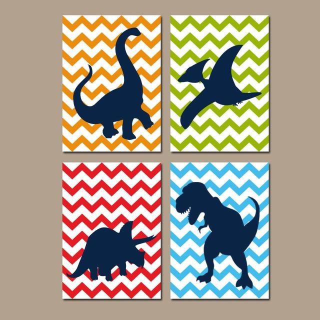 Aliexpress : Buy Dinosaur Cartoon Canvas Painting Nursery Wall With Dinosaur Canvas Wall Art (View 7 of 20)