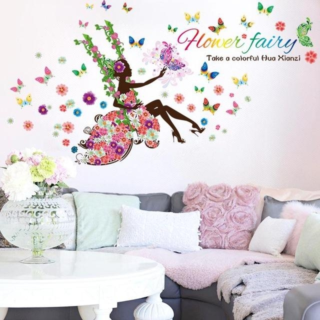 Aliexpress : Buy Diy Wall Art Decal Decoration Fashion Fairy Throughout Butterflies Wall Art Stickers (Image 3 of 20)