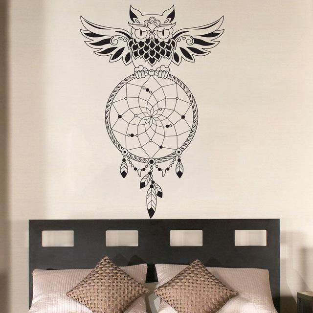 Aliexpress : Buy Dream Catcher Bedroom Owl Wall Decal Art Inside Owl Wall Art Stickers (View 15 of 20)