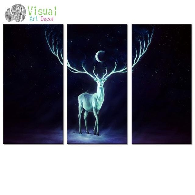 Aliexpress : Buy Fancy Moon Starry Night Art Canvas Wall Art Within Animal Canvas Wall Art (View 14 of 20)