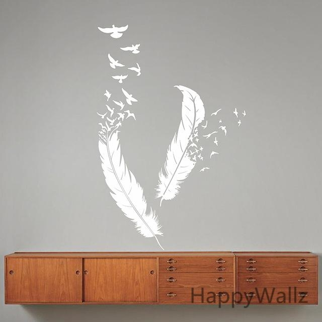 Aliexpress : Buy Feather Wall Stickers Feather Wall Decal Diy Intended For Modern Vinyl Wall Art (Image 4 of 20)