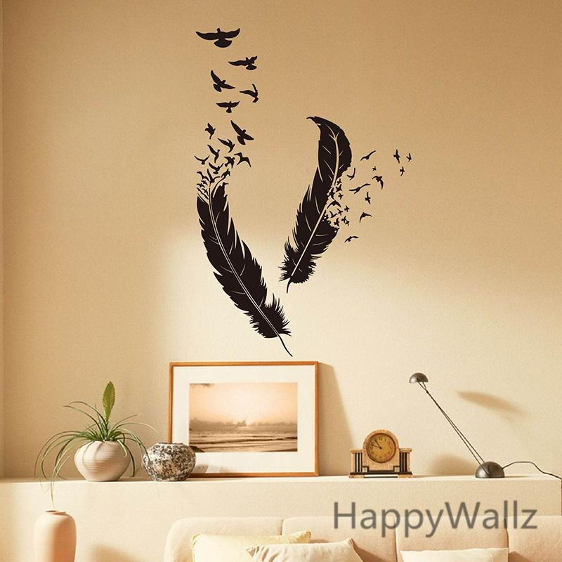 Aliexpress : Buy Feather Wall Stickers Feather Wall Decal Diy Throughout Modern Vinyl Wall Art (Image 5 of 20)