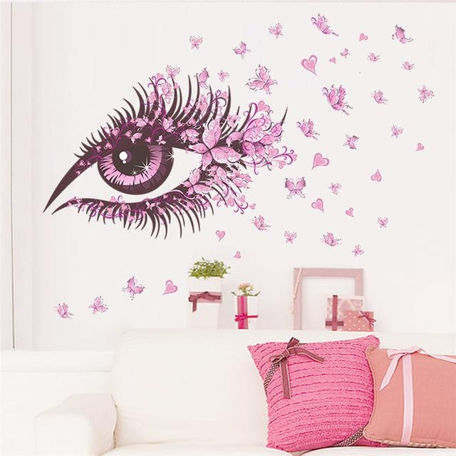 Aliexpress : Buy Flower Fairy Eyelash Butterfly Wall Stickers With Butterflies Wall Art Stickers (Image 4 of 20)