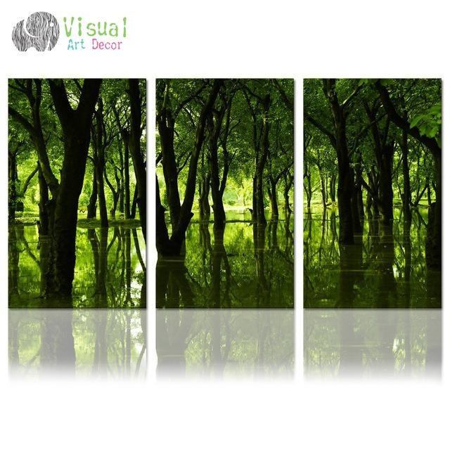 Aliexpress : Buy Forest Canvas Wall Art Well Designed With Regard To Green Canvas Wall Art (Image 7 of 20)