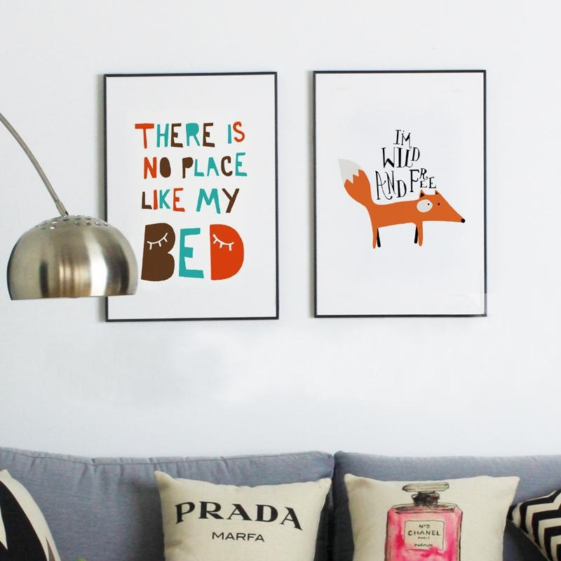 Aliexpress : Buy Fox Poster Writing Picture Digital Poster Regarding Kids Canvas Wall Art (Image 1 of 20)