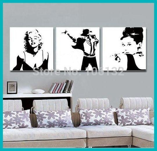 Aliexpress : Buy Framed 3 Panel Canvas Art Black And White Pertaining To Marilyn Monroe Black And White Wall Art (Image 5 of 20)