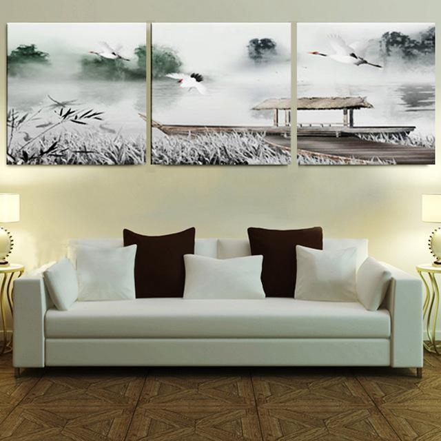 Aliexpress : Buy Framed 3 Panel Large 3 Part Wall Art Chinese Inside Bedroom Framed Wall Art (Image 4 of 20)