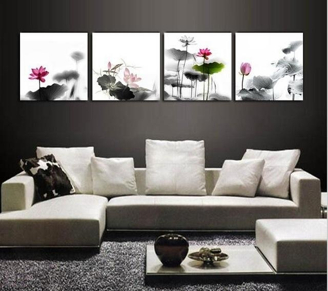 Aliexpress : Buy Framed 4 Panel Large Chinese Wall Art Lotus Inside Feng Shui Wall Art (View 16 of 20)