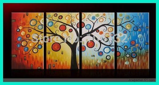 Aliexpress : Buy Framed 4 Panel Large Money Tree Wall Art Within Feng Shui Wall Art (View 20 of 20)