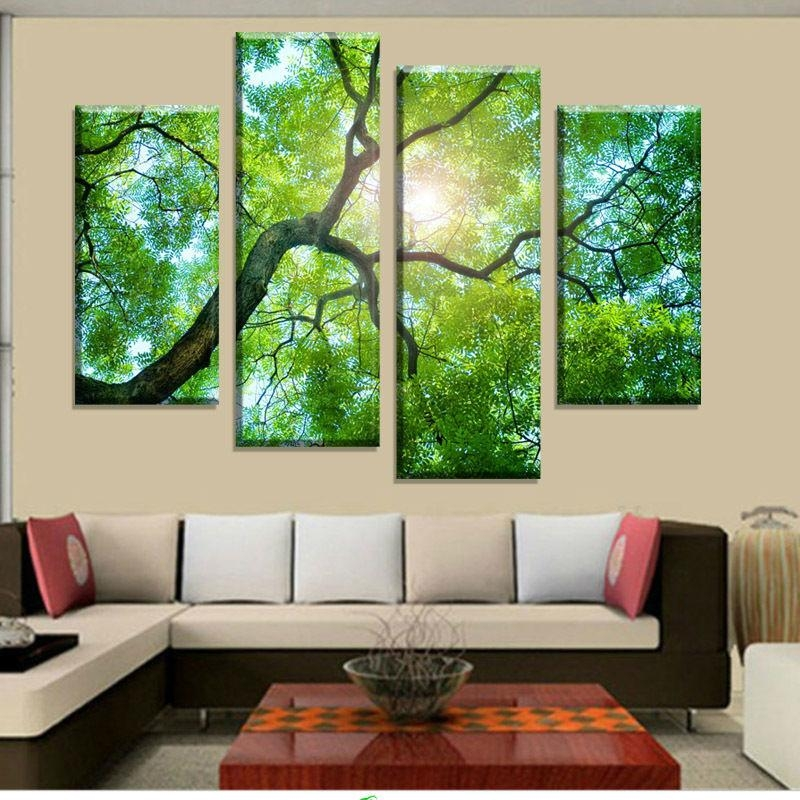 Aliexpress : Buy Free Shipping 4 Panel Green Tree Painting Regarding Green Canvas Wall Art (Image 8 of 20)