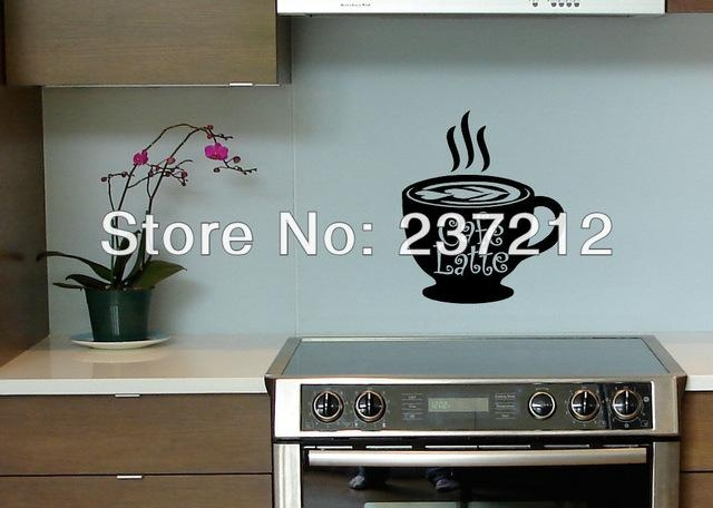 Aliexpress : Buy Free Shipping Cafe Latte Coffee Kitchen Wall Intended For Cafe Latte Kitchen Wall Art (Image 6 of 20)