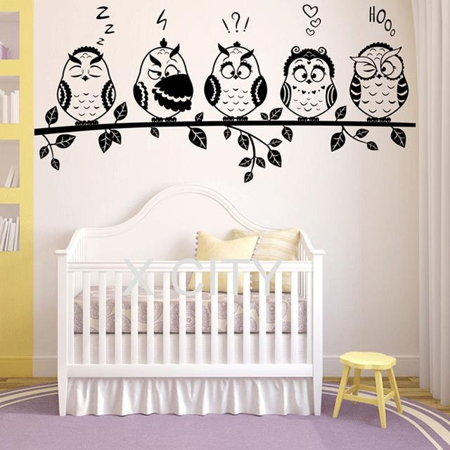 Aliexpress : Buy Funny Owl Family Emoticon Fairytale Adorable Intended For Owl Wall Art Stickers (Image 6 of 20)